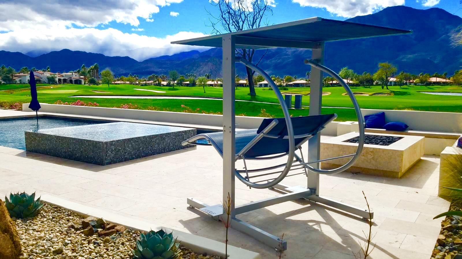 David Frank Furniture: Luxury Swing Company - Blue and Silver Swing in the Sun on Beautiful Patio